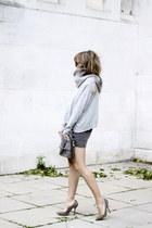 heather gray warehouse skirt - heather gray Zara sweater - silver Topshop heels