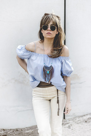 sky blue hm blouse - off white hm jeans - sky blue Primark necklace