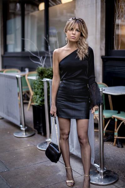 black Topshop bag - black Topshop skirt - black Zara top - mustard Zara heels