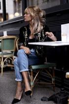 navy Zara jacket - blue Bershka jeans - black Zara top
