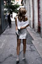 silver Zara boots - white Zara shirt - silver Zara bag - silver Topshop skirt
