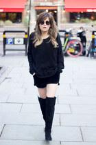 aquamarine Zara boots - bubble gum H&M sweater - amethyst Mango shorts