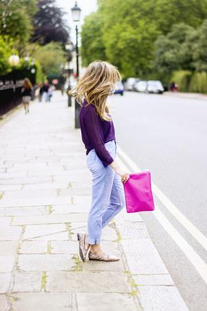 hot pink Zara bag - navy Topshop jeans - violet Zara blouse