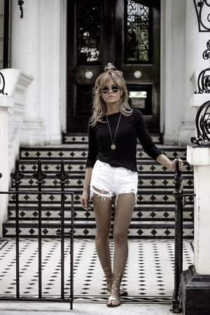 black Zara top - white Topshop shorts - dark khaki Zara sandals