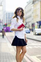 red dune shoes - yellow Zara shirt - amethyst Mango bag - blue H&M skirt