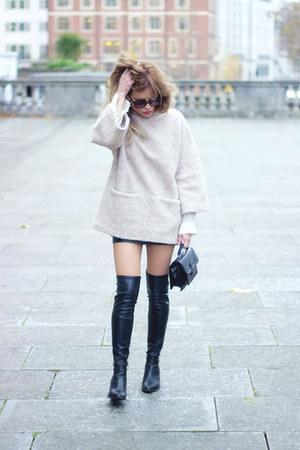 beige Topshop sweater - black Zara boots - black Mango bag