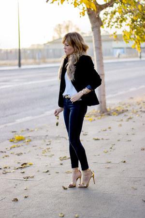 navy Topshop jeans - navy Topshop blazer - sky blue Topshop top