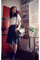 white vintage blouse - brown vintage belt - black vintage skirt - gray Antipast