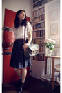 White-vintage-blouse-brown-vintage-belt-black-vintage-skirt-gray-antipast-
