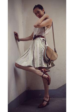 white Zara shirt - green vintage skirt - brown vintage belt - brown Castelbajac