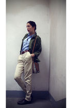 green vintage jacket - blue Gap blouse - brown vintage belt - beige Socit Anonym