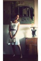 white Givenchy dress - black vintage belt - orange vintage necklace - orange vin