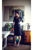 black vintage dress - brown vintage belt - black vintage shoes - silver vintage