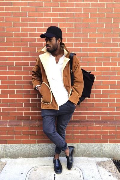 black Dr Martens shoes - black En Nior hat - gray Zara pants