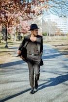 black Pendleton hat - shoes - black Aritzia blazer - black Uniqlo cardigan