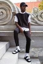 black Aritzia hat - black Oak NYC sweater - black Helmut Lang shirt