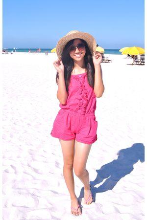 beige hat - pink jumsuit - pink