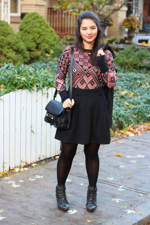 geometric aztec Charlie & Rose via Anthropolgie sweater - lace-up Aldo boots