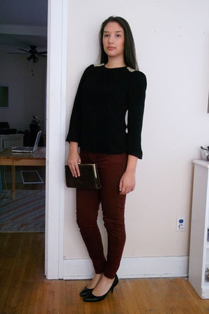 black beaded epaulets Zara top - crimson coloured Forever 21 jeans