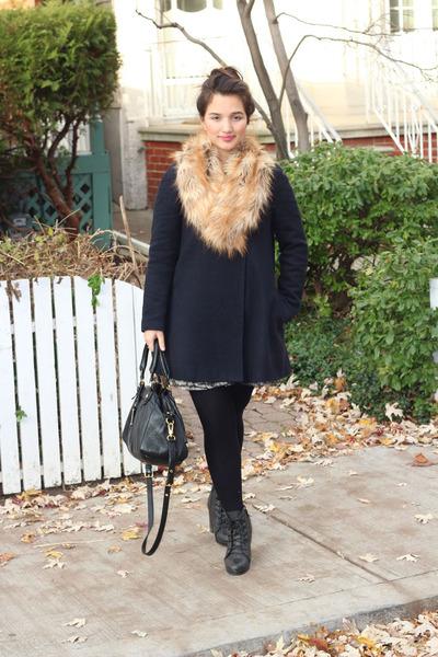 faux fur H&M scarf - lace-up Aldo boots - a-line Zara coat