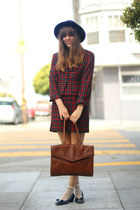 brick red plaid wool vintage suit - navy wool vintage hat