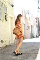 orange floral mini vintage dress - camel market vintage bag