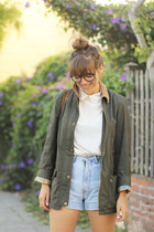 olive green vintage Ralph Lauren jacket - light blue vintage calvin klein shorts