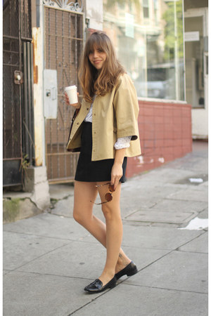 tan cropped vintage coat - white button up vintage shirt