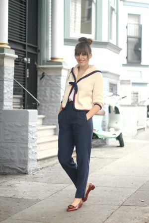 navy vintage pants - ivory nautical vintage cardigan - brown vintage flats