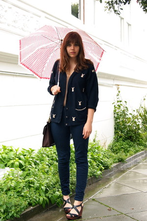 navy H&M pants - navy vintage cardigan - tan scalloped Topshop top - navy sandal