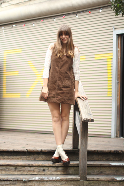 light brown corduroy vintage dress - ivory lace vintage bodysuit