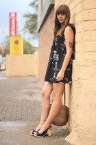 black vintage dress - camel woven wicker vintage bag