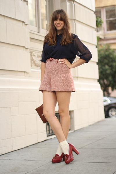 red loafer Forever 21 heels - navy sheer vintage shirt