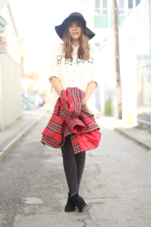 ivory novelty print vintage shirt - ruby red plaid vintage coat