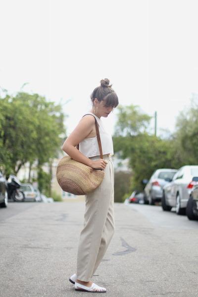 white leather sandal thrifted vintage flats - tan market thrifted vintage bag
