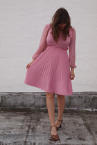 bubble gum sheer sleve thrifted vintage dress - white italian leather thrifted v