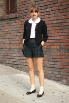 green wool vintage shorts - black leather vintage shoes - white vintage blouse