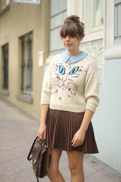 off white vintage sweater - dark brown pleated vintage shirt
