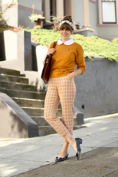 gold wool vintage sweater - nude plaid wool vintage pants