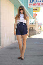 navy high waisted 1940s vintage shorts - dark brown oversized asos sunglasses