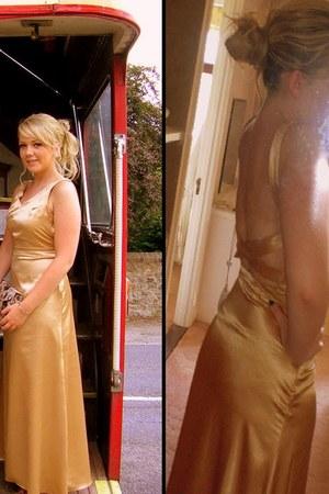 gold satin backless Ebay dress - camel Dorothy Perkins bag - camel suede new loo