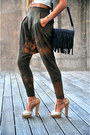 Nude-high-heels-aldo-shoes-black-fringed-zara-bag-silver-zara-top