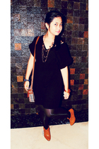 black night market dress - black department store leggings - brown Thrift Shop s