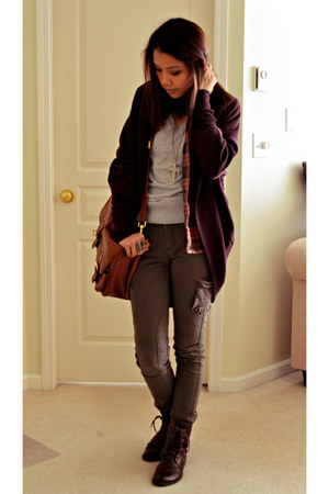dark khaki pants - crimson wilfred sweater - burnt orange H&M bag