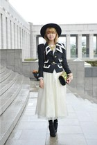 black vintage jacket - white vintage dress - chartreuse Dolce & Gabbana bag