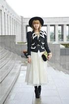 black vintage jacket - white vintage dress - chartreuse Dolce & Gabbana bag
