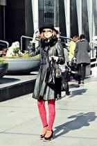 red H&M leggings - black salvaore ferragamo bag