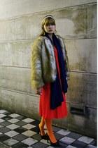 red vintage coat - mustard fur vintage coat