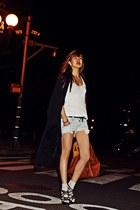 black Guess heels - burnt orange Givenchy bag - white Zara top