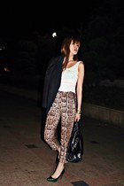 light brown H&M pants - black Jill Stuart jacket - black YSL bag - white H&M top